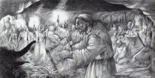 S. Francesco a Greccio presenzia alla sacra rappresentazione del Natale che è all'origine del presepe